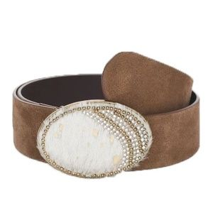 Accessories - Chico's Brown Leather Belt, Suede Western NWT